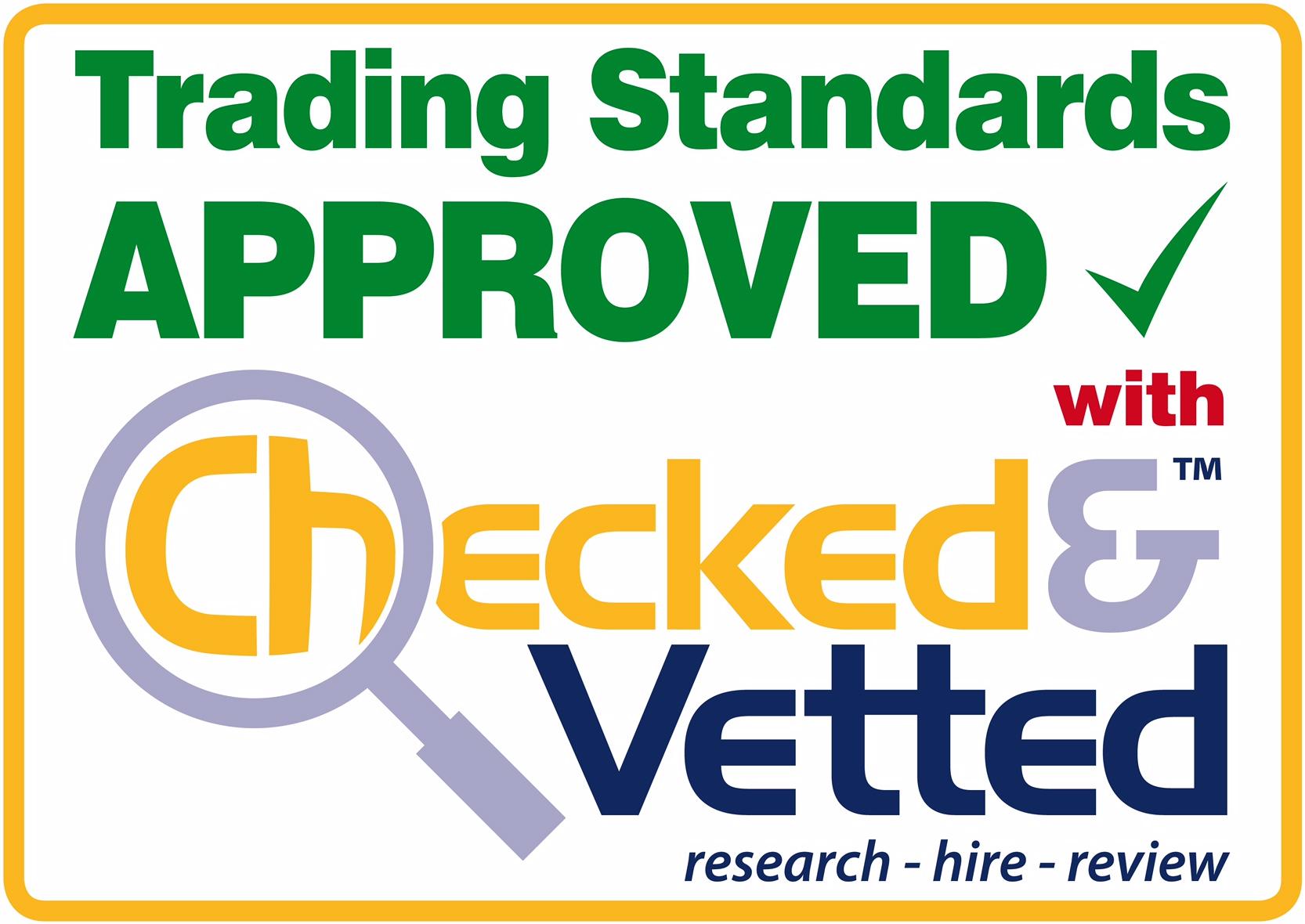 G&N Joinery are Trading Standards Approved with Checked and Vetted